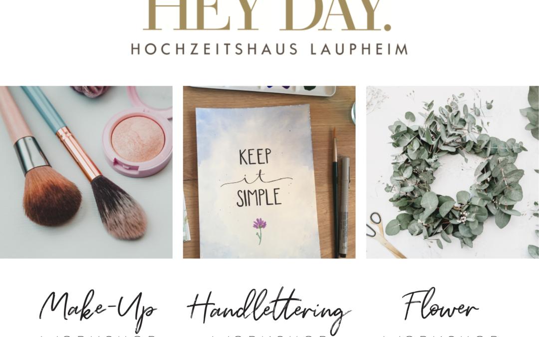 Workshops Make-Up, Handlettering und Flower