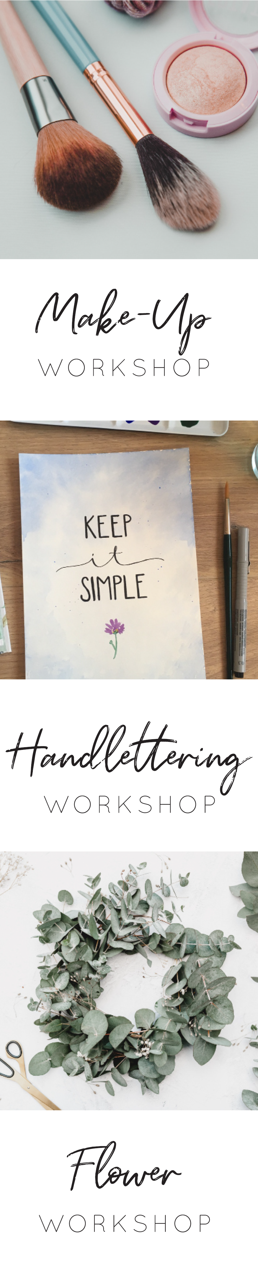 Workshop Make-Up Handlettering Flower Hochzeitshaus Laupheim HEY DAY White confetti Brautmode